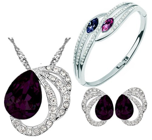 Cyan Purple Colour Austrian Crystal Necklace Set Combo With Crystal Earrings And Elegant Crystal Bracelet  available at amazon for Rs.599