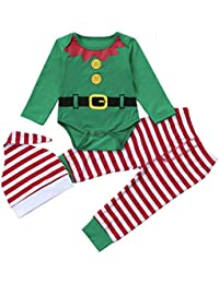 Ropa de Navidad bebé, Amlaiworld Infantil Bebé niños niñas trajes de Navidad conjunto Mameluco + pantalones + sombrero 3 Mes - 2 Años