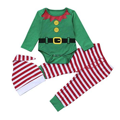 Ropa de Navidad bebé, Amlaiworld Infantil Bebé niños niñas Trajes de Navidad Conjunto Mameluco + Pantalones + Sombrero 3 Mes - 2 Años (Verde, Tamaño:6-12Mes)