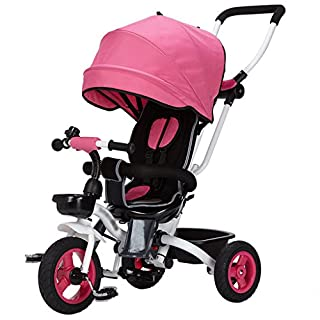 4 in 1 Childrens Folding Tricycle for 6 Months to 6 Years Old Foldable 3 Wheel Push Trikes Maximum Weight 25 Kg (Color : Red)