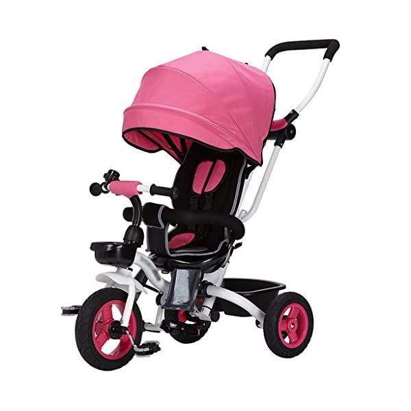 Kids Easy Steer Tricycle 3 Wheels Safe Canopy with Rotating Seat,Stroller with Oxford Cloth Pedal Baby Trolley (Color : Red) DUOER-Pushchairs Constructed from a metal frame with 3 wheels. Suitable for kids over 1-3 . Features assembled canopy, no worry about rains and sunlight,With assembled security guard. 1