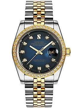 Topwatch Sangdo Herren-Armbanduhr mit Schmuckstein-besetzter Lünette, blauem Zifferblatt und zweifarbigem Armband...