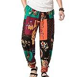 Mxssi Pantaloni Uomo Casual Pantaloni dritti Pantaloni Vintage Stile Etnico Hippie Pantaloni da spiaggia