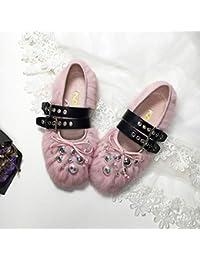 ZHAOXIANGXIANG Remache Zapatos De Suela De Cabeza Redonda Bean Único Nuevo Ballet Correa Calzado De Invierno