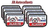 Lot de 8 Stickers/Autocollant Alarme Vidéo Surveillance - modèle 326 x8