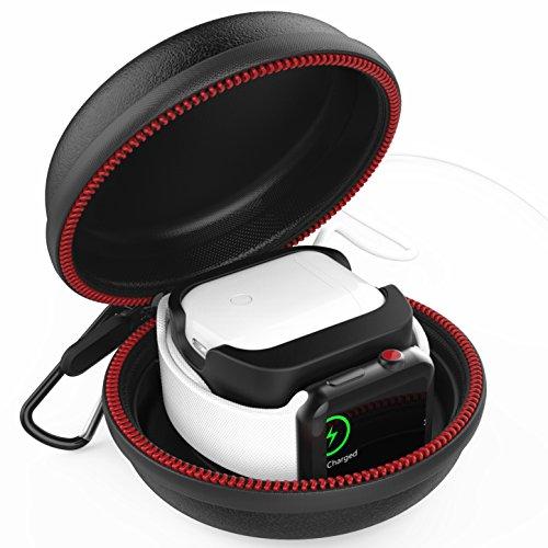 Greatfine Tragetasche für Apple Watch/AirPods Stand Ladestation Ladegerät Ständer unterstützt Tasche für Apple Airpods und Apple Watch Series 1, 2, 3, 4 Edition Zubehör (Schwarz)