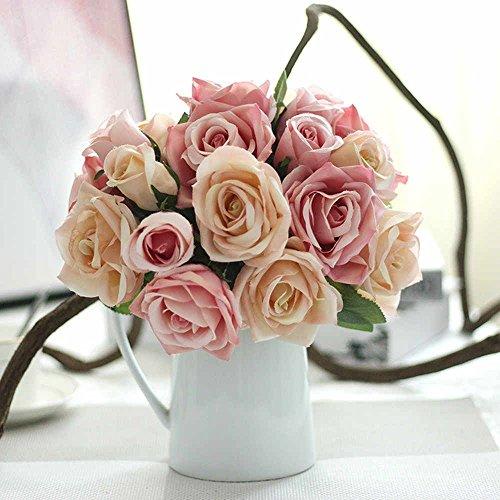 Unechte Blumen,Künstliche Deko Blumen Gefälschte Blumen Seidenrosen Plastik 9 Köpfe Braut Hochzeitsblumenstrauß für Haus Garten Party Blumenschmuck (Rosa Champagner)