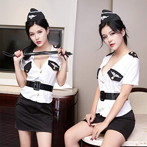 KEDCD Handschellen Sexspielzeug Sexy sexy Uniform Siamese Anzug tief v weibliche Polizei sexy Dessous-Set, ()