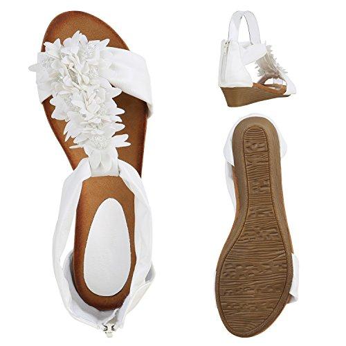 Damen Keilabsatz Sandalen | Riemchensandalen Strass | Sandaletten Wedges Glitzer | Blumen Metallic Flats | Sommerschuhe Weiss Blumenschmuck