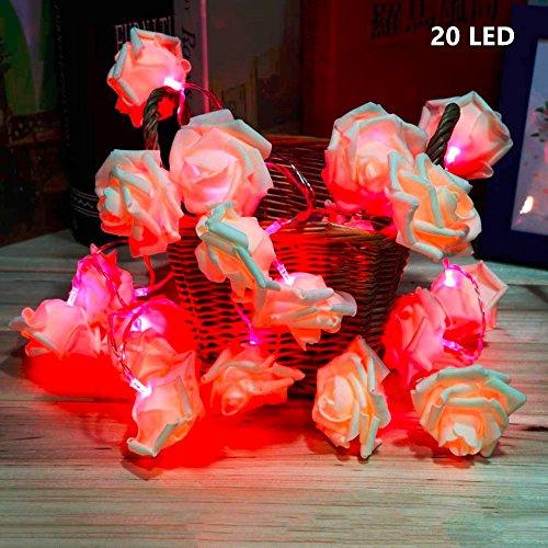 Ecke Blinkt (LED Rosen Lichterkette ,GKONGU 2.2 Meter 20LED Batteriebetrieben Weihnachtslicht -Rosa)