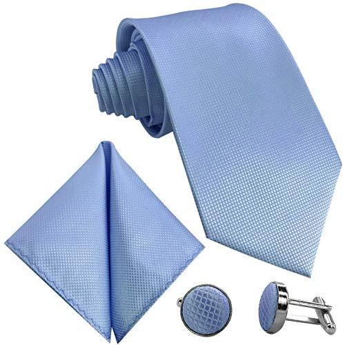 GASSANI 10cm Breite Herrenkrawatte Schmal, Krawattenset Hell-Blaue Karo-Muster, Hochzeitskrawatte Einstecktuch Manschettenknöpfe Z. Hochzeits-Anzug