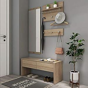 Style home 4tlg. Garderobenset Flurgarderobe Wandgarderobe Holz Komplettgarderobe-Set, inkl. Spiegel, 2 Garderobenpanel…