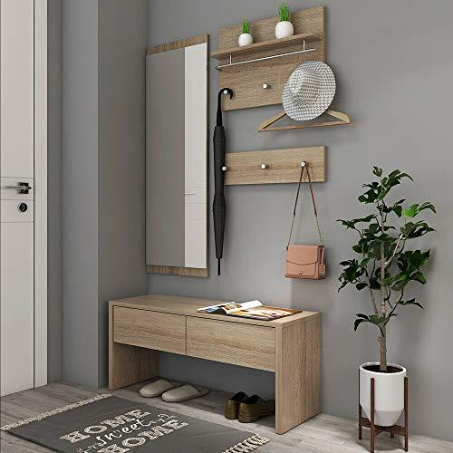 Style home 4tlg. Garderobenset Flurgarderobe inkl. Bank Spiegelpanel Garderobenpanel, Holz, SH78M11053-HOL
