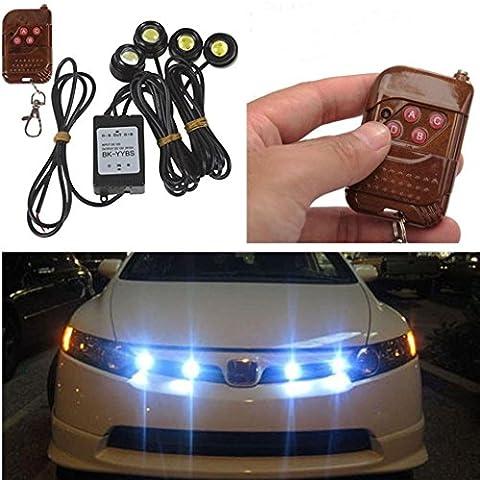 Tonsee 4in1 12V Hawkeye LED Car Emergency Strobe Lights DRL Wireless Remote Control Kit