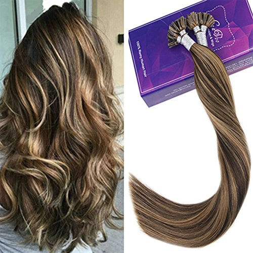 Laavoo 55cm real u tip human hair extension keratina naturale brasiliana lisciante highlighted castano con bionda caramellata (colore #4/27) 50grammi/50ciocche