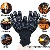 AngLink Grillhandschuhe, BBQ Handschuhe bis zu 800°C 1 Paar Rutschfeste Hitzebeständiger Handschuhe mit Silikon Ofenhandschuhe Topfhandschuhe Backhandschuhe für Grill Kochen Backen und Schweißen 33CM - 6