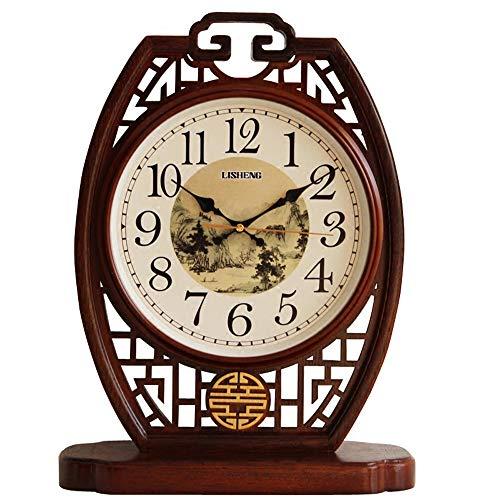 HQQ Reloj Chino, Sala de Estar, Reloj de Escritorio de Madera Maciza, Estilo Chino, Creativo, hogar Grande, Mesa, decoración de Reloj