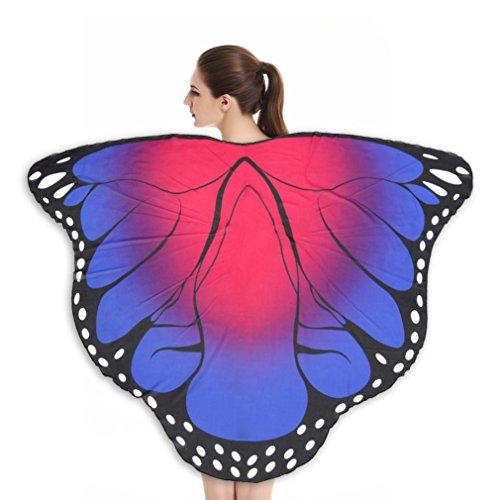 Fancy Lila Schmetterling Kostüm Dress - HLHN Damen Schmetterling Kostüm Erwachsene Flügel Poncho Kostüm Zubehör für Show / Daily / Party (Lila Rosa, 180X145 cm)