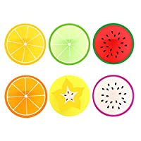 Comfysail Carambole Orange Green Orange Lemon Watermelon Pitaya Round Brilliant Silicone Fruit Slice Drink Coasters/Carving Tableware Placemat/Cup Mat/Pad (Fruit coaster 6pcs)