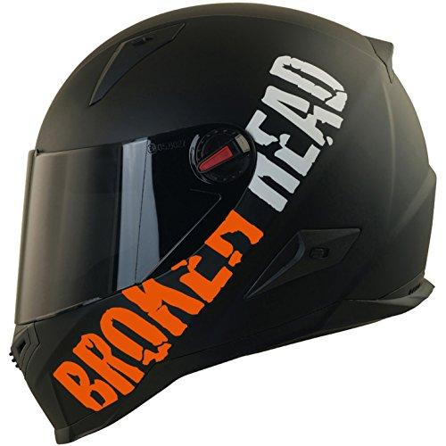Broken Head BeProud Matt-Schwarz & Orange - Motorradhelm Mit Schwarzem Zusatz-Visier - Größe M (57-58 cm) -