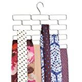 mDesign Porta sciarpe – Pratico appendino sciarpe per mantenere gli accessori in ordine – Organizer sciarpe con 18 comodi scomparti da appendere nell'armadio – argento