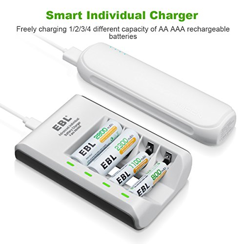 29a83ff487596d Buy EBL Smart Individual Household Battery Charger for AA AAA Ni-MH Ni-CD  Rechargeable Batteries on Amazon | PaisaWapas.com