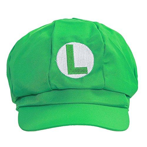 ValuePack Mario / Luigi Hüte Hut Rot / Grün Elastische Kappe Hat Cosplay Kostüm Fashion Design für Halloween Party (Grün)