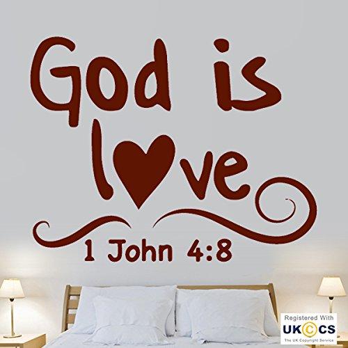 Gott ist Liebe-Bibel-Zitat Christian Verse Hall-Wand-Kunst-Aufkleber-Abziehbild-Vinyl Raum Schlafzimmer Jungen Mädchen Kinder Erwachsene Heim Wohnzimmer Zitate Küche Badezimmer Wandaufkleber