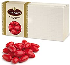 Idea Regalo - Nunziatina - Confetti Gangemi colore Rosso con Mandorla Siciliana (CLASSICHE) Alta Qualità 1000 g