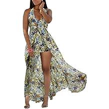 Guiran Vestiti Donna Estivi Halter Spalla Nuda Abito con Spacco Vestito  dalla Spiaggia Vestiti Floreali Donna 393fe2adc3c