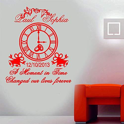 guijiumai Personalisierte Name und Datum Hochzeit Wand Vinyl Aufkleber Uhr Glocke Dekoration Hochzeit Zitate Gratulation Deco 1 L 57x68cm