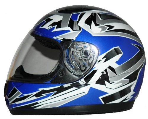 Kinder Motorradhelm blau SA03 + Sturmhaube - XXS
