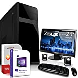 Multimedia PC mit Monitor AMD FX-4300 4x3.8GHz |ASUS Board|24 Zoll TFT|8GB DDR3|500GB HDD|Radeon HD 3000 DVI|DVD-RW|Wlan-Stick|USB 3.0|SATA3|Sound|Windows 10 Pro|GigabitLan|3 Jahre Garantie|Made in Ge