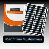 128 gedruckte, selbstklebende Namen-Etiketten - schwarz, Schrift blau - 6 mm x 35 mm (max. 25 Zeichen) - in Industriequalität - von Luminess - Made in Germany