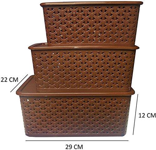 Fairfood® 3 Piece Plastic Basket with Lid, Brown, Multipurpose, Fairfood