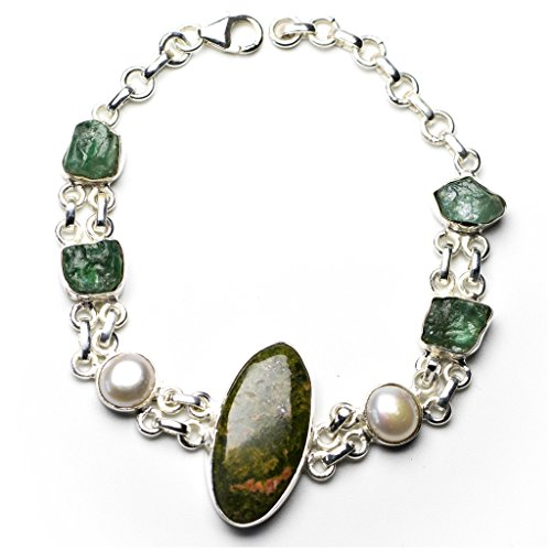 stargems-tm-verde-naturale-unakite-fiume-e-perle-drusy-druzy-925-argento-sterling-braccialetto-6-3-4