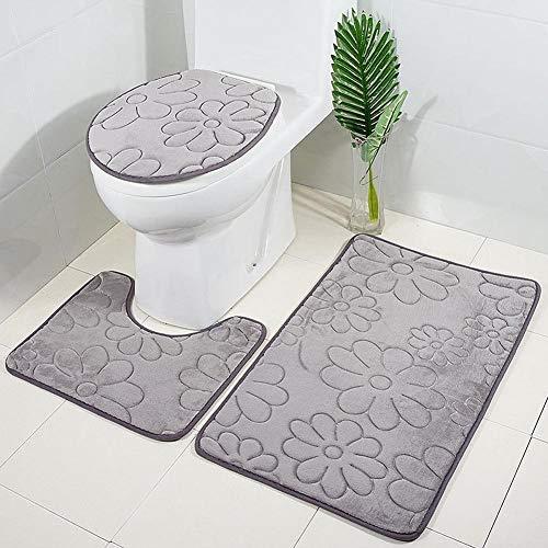 Hete-supply Badezimmerteppich-Set, 3-teilig, Flanell, 3D-Muster, extra weicher Duschvorleger, Badvorleger, Badvorleger, Badvorleger, Rutschfester WC-Deckel, Kontur Badematte für Dusche, WC e