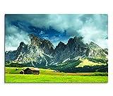 120x80cm Leinwandbild auf Keilrahmen Alpen Berge Wiesen Holzhütte Wolken Wandbild auf Leinwand als Panorama