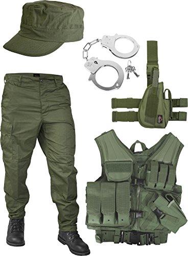 normani United States Marine Corps Kostüm Set bestehend aus Weste, Hose, Handschellen und Feldmütze Farbe Oliv Größe 3XL -
