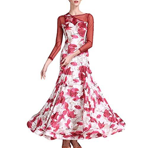 CX Damen Professionelle Samt Modern Dance Rock Schräge Schulter Kleid Nationale Standard Tanzwettbewerb Übungskleidung (Farbe : Rot, größe : XL) -