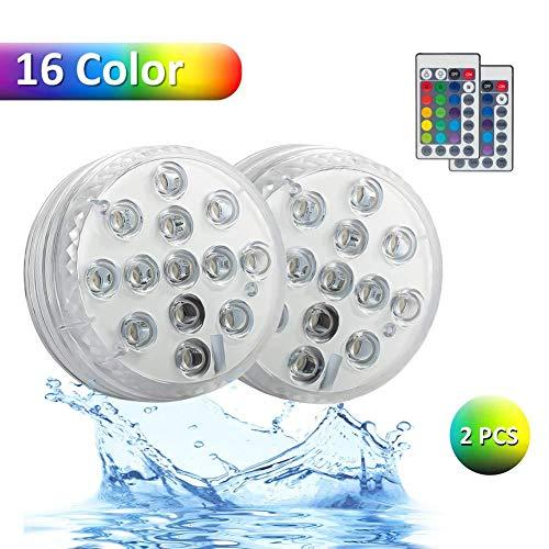 2 Pcs piscina boda Navidad luces decoración LED sumergible