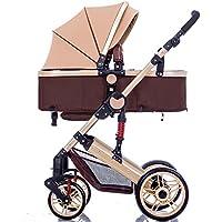 Bicicletas DUO Cochecito de bebé para bebés Cochecito para niños recién nacido 0-36 meses Cochecito de bebé con marco de acero resistente a la intemperie en 4 colores (Color : Marrón)