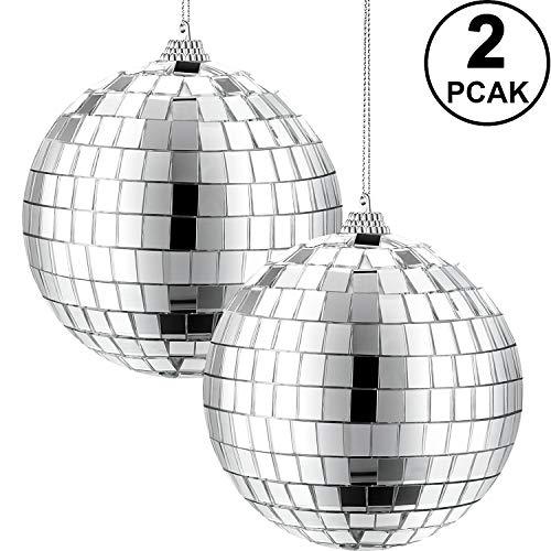 2 Packungen 4 Zoll Spiegel Disko Kugel, 70er Jahre Disko Party Dekoration, Silberne Hängende Kugel für Party oder DJ Licht Effekt, Innen Einrichtungen, Requisiten, Spiel Zubehör