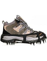 Universal 18 dientes de acero antideslizante Pinza hielo nieve Tracción las grapas de seguridad Proteger los zapatos para patinar sobre la nieve yendo de excursión de pesca al aire libre (Negro, L)