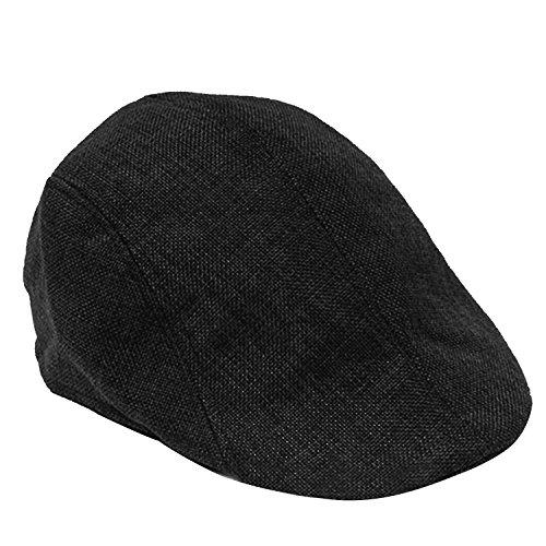 Vococal® Unisex Reine Farbe Leinen Textur Flache Spitze Barette Hüte Kappe - Herren Damen Baskenmützen Schirmmützen, Schwarz (Leinen Hut)