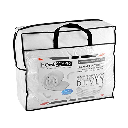 Homescapes Super King Size All Seasons (9 Tog + 4.5 Tog) - Luxury White Goose Feather & Down Duvet - 100% Cotton Anti Dust Mite & Down Proof Fabric - Anti Allergen - Washable at Home Quilt