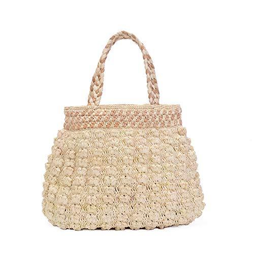 Litnret Handgewebte Stroh gehäkelte Blume Tasche Frauen Sommer Strand gestrickte geflochtene Tote Handtaschen -