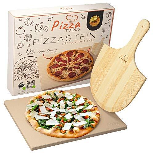 Pizza Tools Pizzastein - Hochwertiger Cordierit Pizza Schamottstein für Grill, Backofen und Gasgrill inkl. Pizzaschaufel | Auch für Flammkuchen und Brot | Eckig 1,5 cm | Knusprige Steinofen Pizza