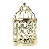 huyiko - Portavelas de Cristal de 3 Colores con Forma de Jaula de pájaros y decoración para el hogar (Oro, Plata y Oro Rosa)
