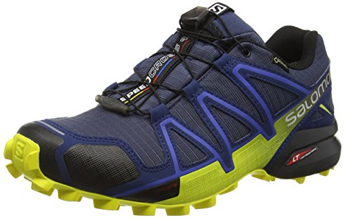 Salomon Herren Speedcross 4 GTX Trailrunning-Schuhe,Blau (Slateblue/Blue Depth/Corona Yellow), 46 2/3 EU